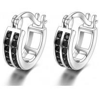 Elegantni srebrni uhani s krasnimi črnimi kristali CZ