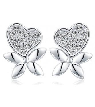 "Ljubki srebrni uhančki ""Heart Flower"""
