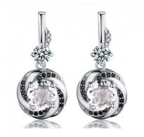 Izjemni srebrni uhančki, kombinacija srebra in črno-belih kristalov CZ