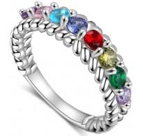 Mavrični prstan s kristali CZ