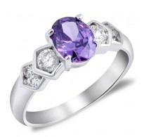 Atraktiven srebrn prstan s kristali CZ