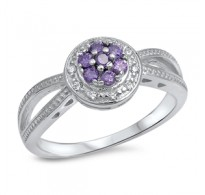 Bogato okrašen srebrn prstan s kristali CZ v barvi ametista