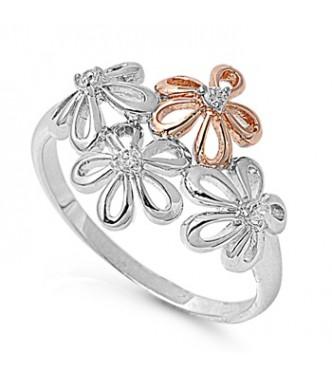 Prisrčen srebrn prstan s cvetjem