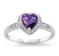 Eleganten srebrn prstan s srcem