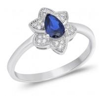Zapeljiv srebrn prstan v obliki cveta s kristalom barve modrega safirja