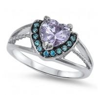Graciozen srebrn prstan s kristali