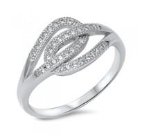 Čudovit srebrn prstan s stikajočima zankama
