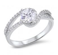Srebrn prstan izjemno lepih oblik in znatno okrašen s kristali CZ