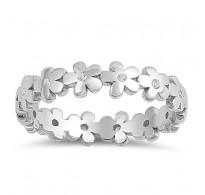 Ljubek cvetlični srebrn prstan, kot pomladni travnik