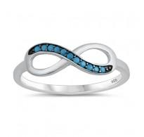 "Izjemno ličen srebrn prstan ""Infinity"" s turkizi"