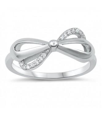 Čudovit srebrn prstan s pentljo