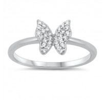 Pravljičen srebrn prstan z metuljem