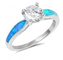 Čudovit srebrn prstan s kristali CZ in lab opali