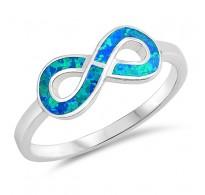 Srebrn prstan infinity z modrim lab opalom