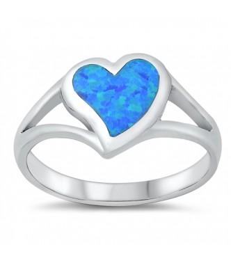 "Očarljiv srebrn prstan ""Ocean blue heart"""