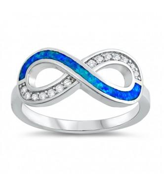 Bogat srebrn prstan z modrim lab opalom in kristali CZ