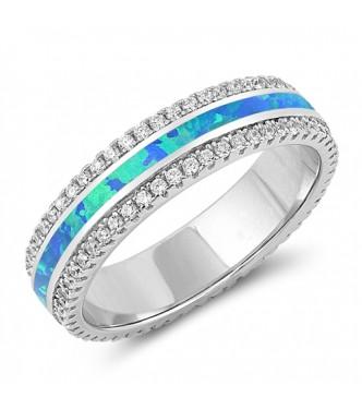 Bleščeč srebrn prstan z lab opali in kristali CZ