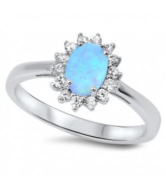 Srebrn prstan klasičnega zaročnega dizajna z modrim opalom