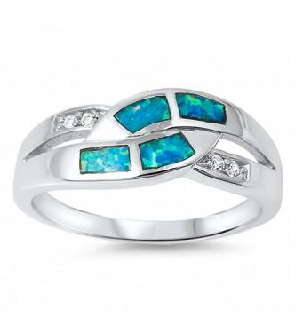 Sijajen prstan z modrimi opali