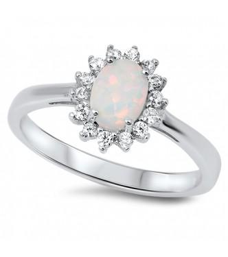 Srebrn prstan klasičnega zaročnega dizajna z belim opalom