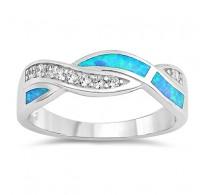 Prepletajoč srebrn prstan s prekrasnimi opali