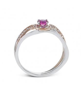 Prefinjen prstan s kristalom v barvi Rubina