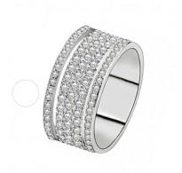 Bleščeč prstan s kristali CZ