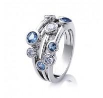 Božanski prstan s kristali v barvi morja