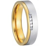 """Čudovita kombinacija jekla, kristalov in pozlate v prstanu """"Nataša"""""""