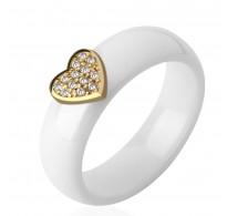 Nedolžno bel prstan iz keramike s srčkom