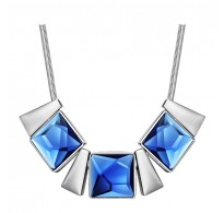 Glamurozna ogrlica s krasnimi modrimi kristali