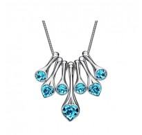 Osupljiva ogrlica 18K bela pozlata s kristali Swarovski elements