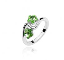 Subtilen prstan s kristali Swarovski elements v obliki cvetlic