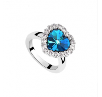"Čaroben prstan z modrim kristalom "" Titanic Heart"""