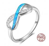 Prstan infinity, kristali CZ z modrimi opali