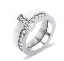 Domiseln prstan iz bele keramike, jekla in kristalov