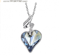 Obesek z verižico Romantic heart s pristnim kristalom  Swarovski elements