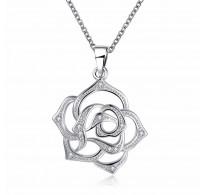 Obesek vrtnica, 18K bela pozlata s  kristali kubični cirkonij