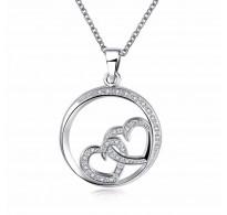 """Obesek """"Lovely hearts"""", 18K bela pozlata s  kristali kubični cirkonij"""