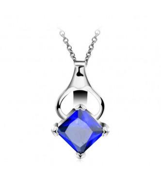 Obesek z verižico, 18K bela pozlata s kristalom v safir modri
