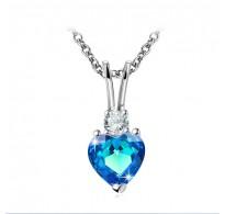 """Obesek z verižico, """"Love & Heart"""" s čarobnim kristalom v aquamarin  barvi"""