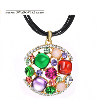 Ogrlica atraktivna 18K pozlata s kristali Swarovski elements