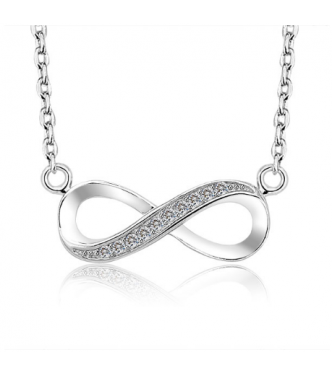Modna srebrna ogrlica Infinity s kristali CZ