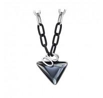 Edinstvena modna ogrlica s kristali v dimno sivi barvi