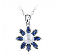 Obesek z verižico,  modri kristali kombinirani z biserom