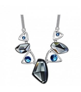 Ogrlica, glamurozna, 18K bela pozlata s kristali Swarovski elements
