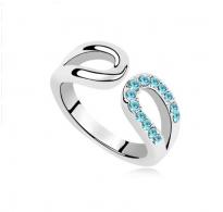 "Krasen prstan s kristali Swarovski elements "" Aquamarine"""