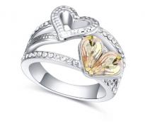 Glamurozen edinstven prstan s kristalom v barvi šampanjca
