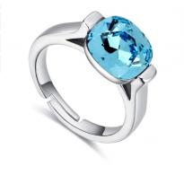 """Razkošen prstan nastavljive velikosti s kristalom SWE """"Aquamarine"""""""