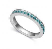 """Elegantni prstan iz 18K bele pozlate s kristali SWE """"Aquamarine"""""""